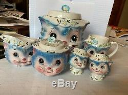 Lefton Miss Priss 6-piece set cookie jar, salt & pepper, jam jar, pitchers