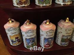 Lenox Disney Spice Jars -24 Spices In Orig. Coll. +Salt & Pepper -Wood Shelf