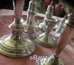 Lot Vintage Antique 14 Piece Sterling Silver Candlelabra Salt Pepper Compote