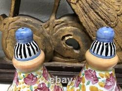 MACKENZIE-CHILDS Taylor Ceramic Salt & Pepper Shakers Cabbage Rose Not Used