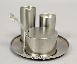 MCM Danish Arne Jacobsen Cylinda Stainless Salt Pepper Condiment Set in Orig Box