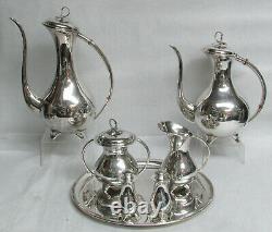 MID Century Eugen Ferner Germany Sterling Silver Coffee & Tea Tray Salt & Pepper