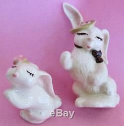 MOMMY & TOMMY KISSING RABBITS SALT and PEPPER SHAKERS CERAMIC ARTS STUDIO