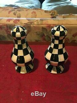 MacKenzie-Childs Courtly Check Enamel Large Salt & Pepper Shakers, NEW