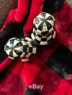 MacKenzie Childs Courtly Check Salt & Pepper Shakers Brand New Large Size