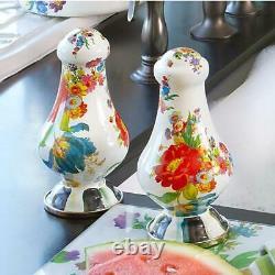 MacKenzie-Childs Large Salt & Pepper Shakers White #89242-95 NEW IN BOX