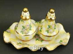 MacKenzie Childs Lemon Curd Salt Pepper Shaker Set & Under Plate/Tray