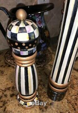 Mackenzie Childs COURTLY CHECK Inspired Wood 17 & 10 SALT & PEPPER MILL SET