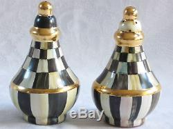 Mackenzie Childs COURTLY CHECK Majolica Pottery SALT & PEPPER SHAKER NEW mc15