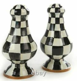 Mackenzie Childs Enamelware Courtly Check Salt & Pepper Shakers Large