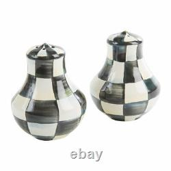 Mackenzie Childs Enamelware Courtly Check Salt & Pepper Shakers Small