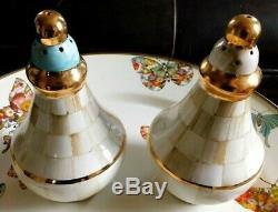 Mackenzie-childs Ceramic Parchment Check Salt And Pepper Set, New