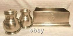 Match Italian Pewter Condiment holder and Piccoli Salt and Pepper Shakers