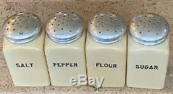 McKee Fired on Carmel Color Salt Pepper Flour & Sugar Range Shaker Set