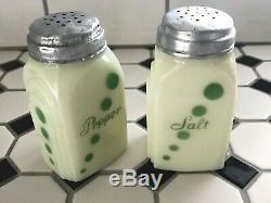 McKee Green Polka Dots on Custard Glass Salt & Pepper Roman Arch Range Shakers