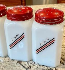 McKee Hazel Atlas Diagonal Lines Salt Pepper Flour & Sugar Range Shaker Set