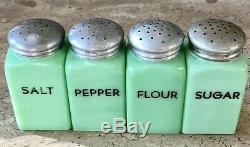 McKee Jadeite Jadite Green Glass Salt Pepper Flour & Sugar Range Shaker Set