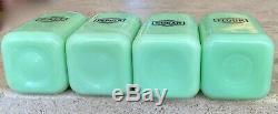 McKee Jadeite Jadite Small Art Deco Box Salt Pepper Sugar & Flour Range Shakers