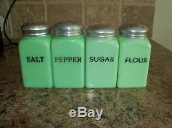 McKee Jadite Salt Range Shaker Jadeite Salt, Pepper, Sugar, Flour