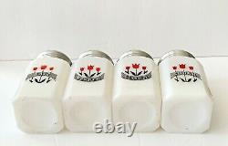 McKee Milk Glass Musical 3 Tulips Range Set Salt Pepper Flour Sugar HTF