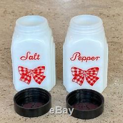 McKee Red Gingham Bow Salt & Pepper Shakers White Milk Glass Original Label