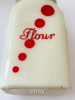 McKee Roman Arch Custard Glass Red Dots Salt Pepper Flour Sugar Shakers Set