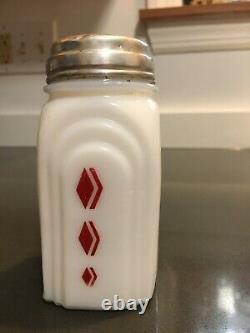 McKee Roman Arch RED DIAMOND CHECK Milk Glass Salt and Pepper Shakers Art Deco