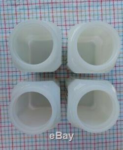McKee Tipp Milk Glass Range Shakers Red Deco Lines Salt Pepper Flour Sugar