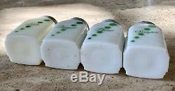 McKee White Milk Glass Green Polka Dot Salt Pepper Flour Sugar Range Shaker Set
