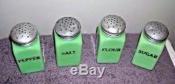 Mckee Jadeite Jadite Sugar Flour Salt Pepper Shakers Range Set