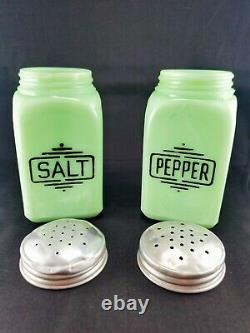 Mckee Jadeite Salt And Pepper Shakers Range Top Deco Large Lettering -free Ship
