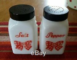 Mckee Red Check Gingham Bow Salt & Pepper Range Shaker Pair