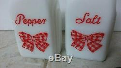 Mckee rare Red Bow Shakers salt and pepper red gingham bows