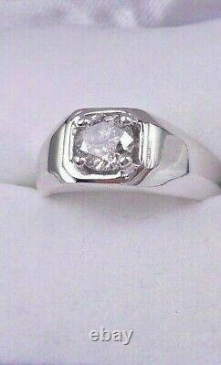 Men's 1.03CT Genuine Diamond Solitaire Ring 10KT White Gold 9.9gms Salt & Pepper