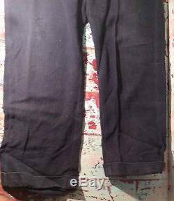 Mens Vtg 20s 30s Black Denim Salt & Pepper Button Fly Work Riding Pant Sz 32x28