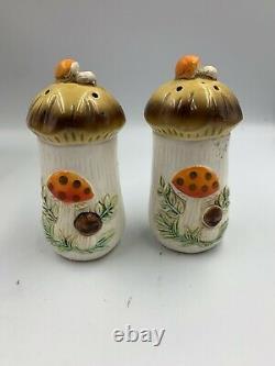 Merry Mushroom Canister Set, Creamer & Sugar, Salt & Pepper 1970s/1980s Sears