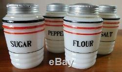 Milk Glass Sugar Flour Salt Pepper Shakers Vintage Hazel Atlas RARE