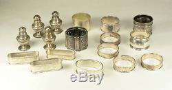 Mixed Lot Sterling Silver Napkin Rings, Salt & Pepper, Antique to Modern