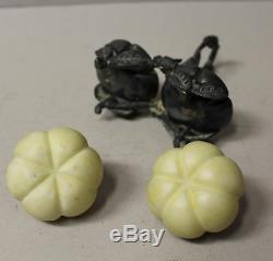 Mt. Washington Melon Design Salt & Pepper Shakers in Meriden Holder
