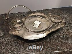 Mt Washington true Burmese salt/pepper shakers cruet & sp silver-plate frame