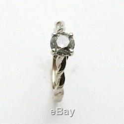 NEW 1 carat Salt & Pepper Diamond White Gold Engagement ring Handmade