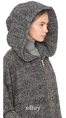 NEW SMYTHE Gray Salt Pepper Tweed Wool Blend Poncho Hooded Coat Cape O/S $895