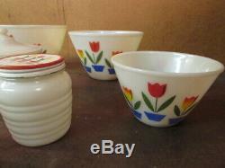 NOS Vintage FIRE-KING Tulip Mixing Bowl Set salt pepper grease jar canister TAG