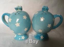 Napco MISS CUTIE PIE Salt & Pepper Shakers JAPAN Blue Birds Little Girl 3510