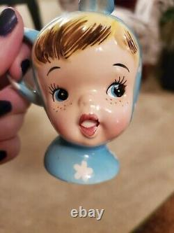 Napco Miss Cutie Pie Blue Salt And Pepper Shaker