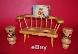 Native American Decal Back MINDEN NEBRASKA Windsor Chair Salt & Pepper Shakers