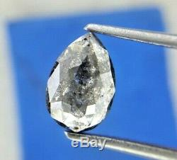 Natural Diamond Pear Rustic Diamond 1.02TCW Salt Pepper Pear Rose Cut for Gift