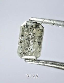 Natural Diamond Salt and Pepper Emerald Full cut 0.89TCW SI1 6.9 x 4.4 x 2.8MM