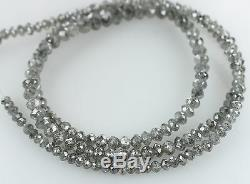 Natural Loose Diamond Round Faceted Bead Salt And Pepper 43.00 CM 18.25 Ct Q69