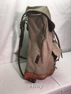 Near Perfect Vintage Swiss Army Military Backpack Rucksack Canvas Salt & Pepper